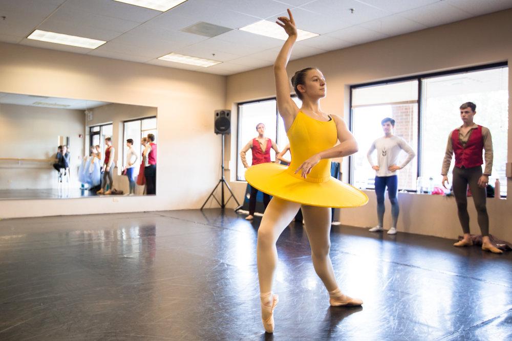 Senior Apprentice Libby Dennen rehearsing summer in  Four Seasons of the Soul .