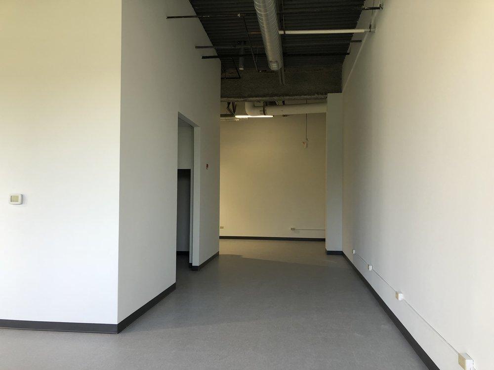 Entryway to bathroom and back hallway