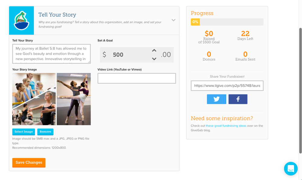 ability to edit your story, upload the story image, and set your goal