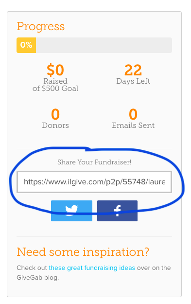 your shareable link to your fundraising page.