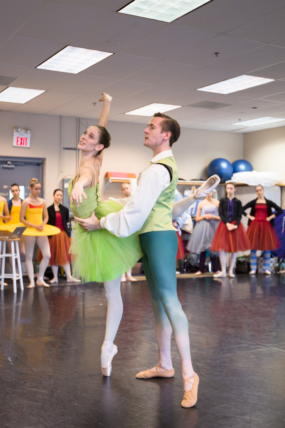 Company Artists Sam Opsal and Jessica Lohr rehearsing the Spring  pas de deux  from  Four Seasons of the Soul .