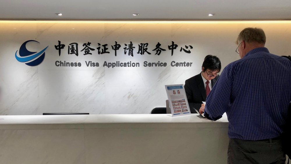 The main counter of the Chinese Visa Application Service Center