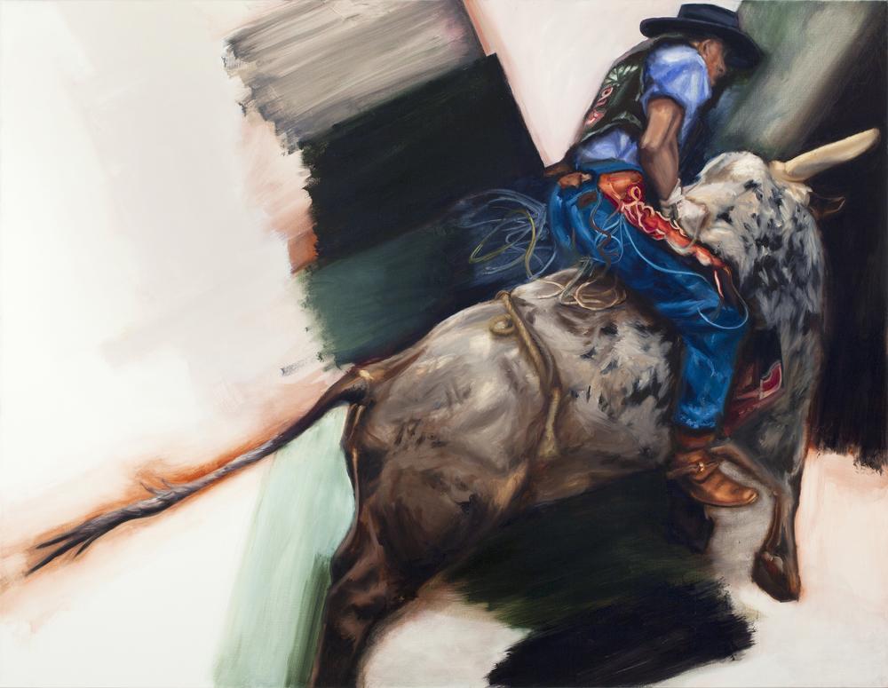 Bull Riding into Abstract Painting