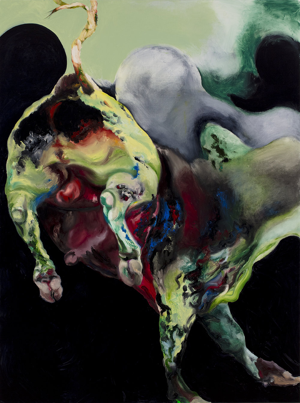 Yellow Green Bull with Red