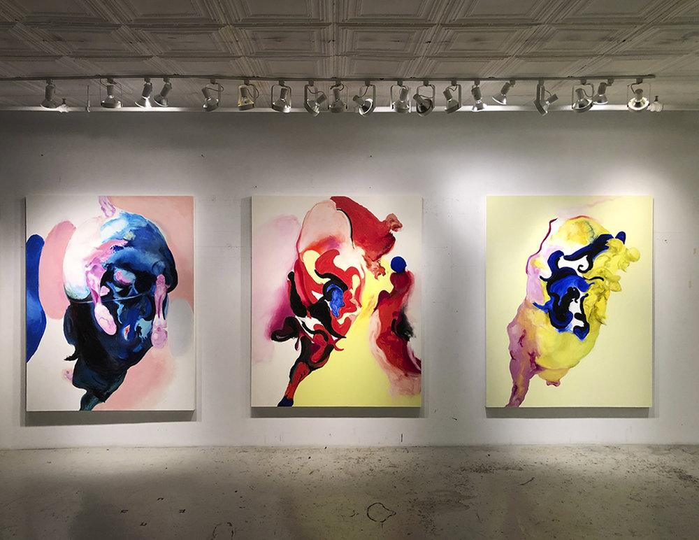 studio installation, 3 last paintings from 2018