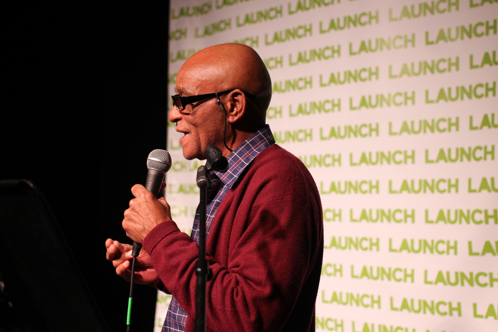 Walter pitches his business Angel Wings,at the LAUNCH Startup Showdown on October 15, 2015.