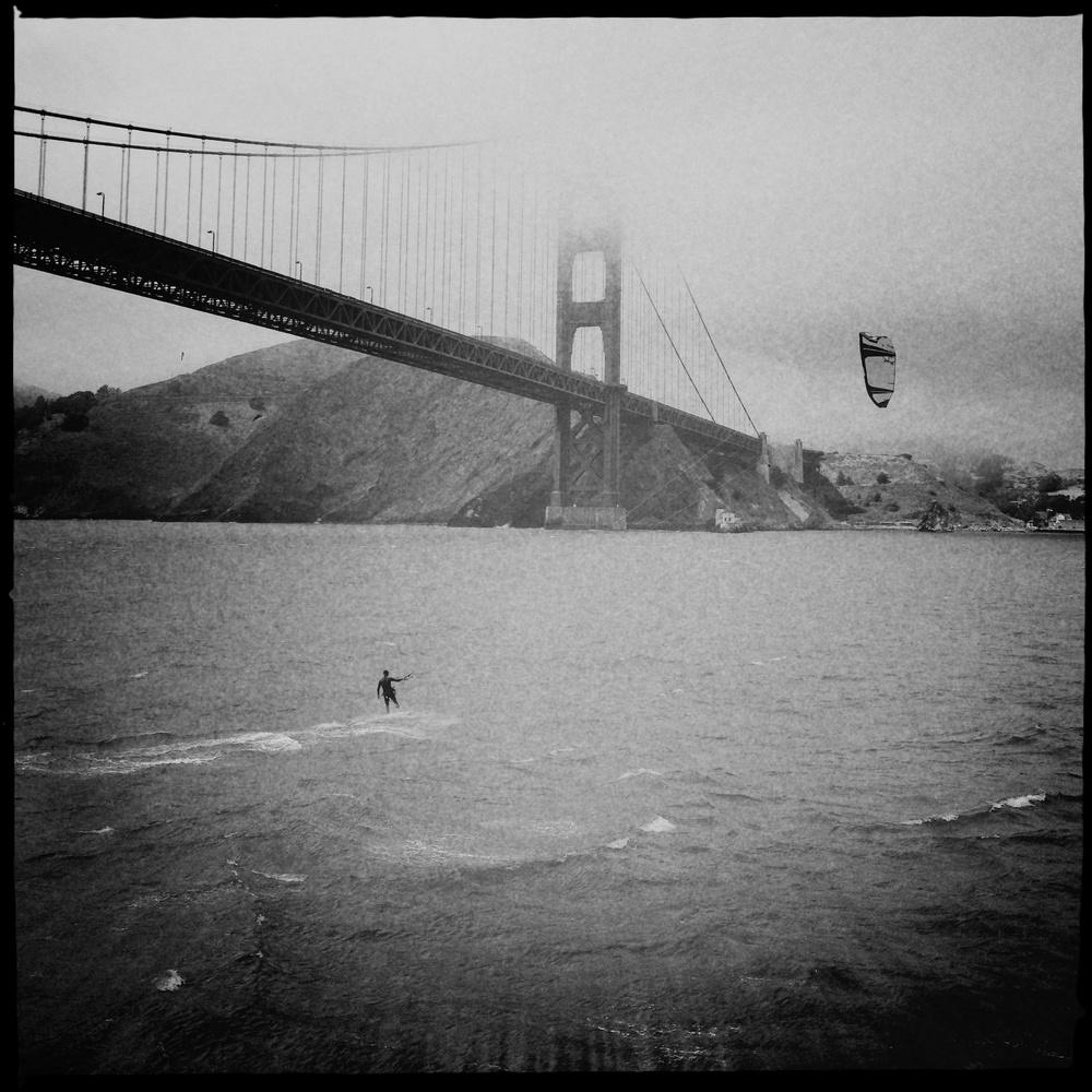 kite surfer, golden gate bridge