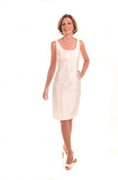 Wallander modeling the Empire Waist Dress, $875 at Annette Ellen Designs