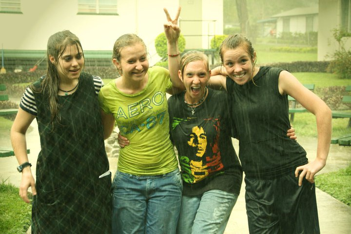 Laura, Kacie, me and Susan playing in the rain after school. Photo: Elin Wyller