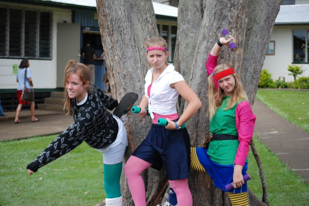 Susan, Kacie and me during '80s Workout Day. Photo: Trevor Hanson