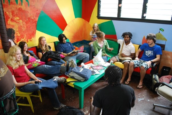 My class's senior lounge, the theme of which was Rastafarian disco at the beach. Photo: Trevor Hanson