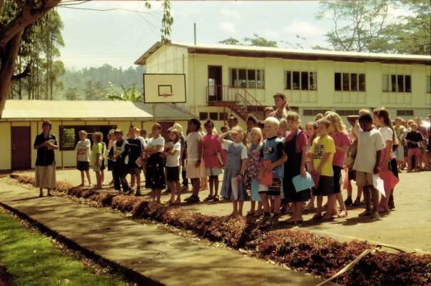 Our first grade class singing the national anthem before chapel at the old primary school. Photo: Elin Wyller