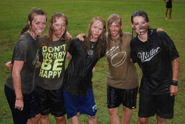 Susan, Kacie, Elin, me and Julia playing in the rain at Encounter senior year. Photo: Trevor Hanson