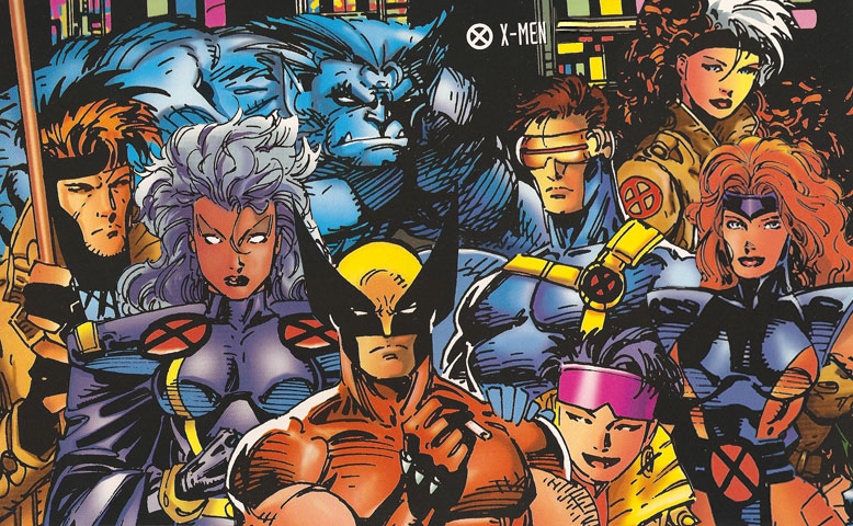 THIS is the true Jim Lee 1990s X-men right before Wolverine altered his uniform from the orange and black to the yellow and blue. As you can also see. Cyclops is sporting his open cowl and we see Jean Greys big-ass tits. :)