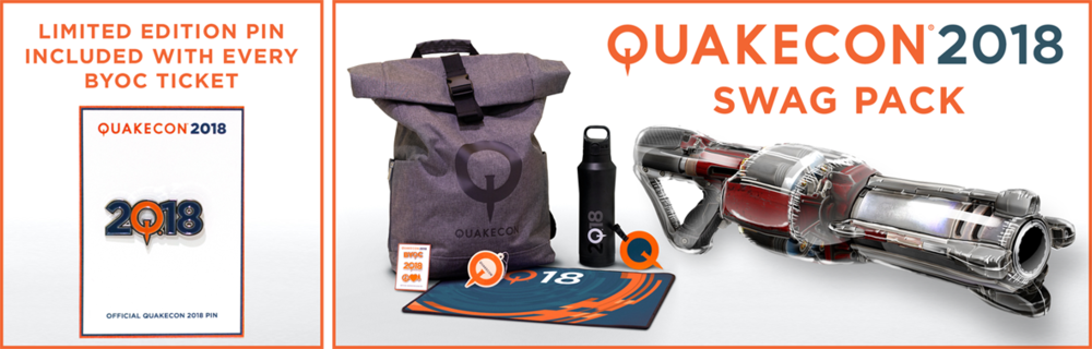 ALL purchasers must be present at QuakeCon 2018 at the Gaylord Texan in Dallas, Texas August 9-12, 2018, and must present proof of purchase to receive the swag bag – unclaimed swag bags will not be mailed.
