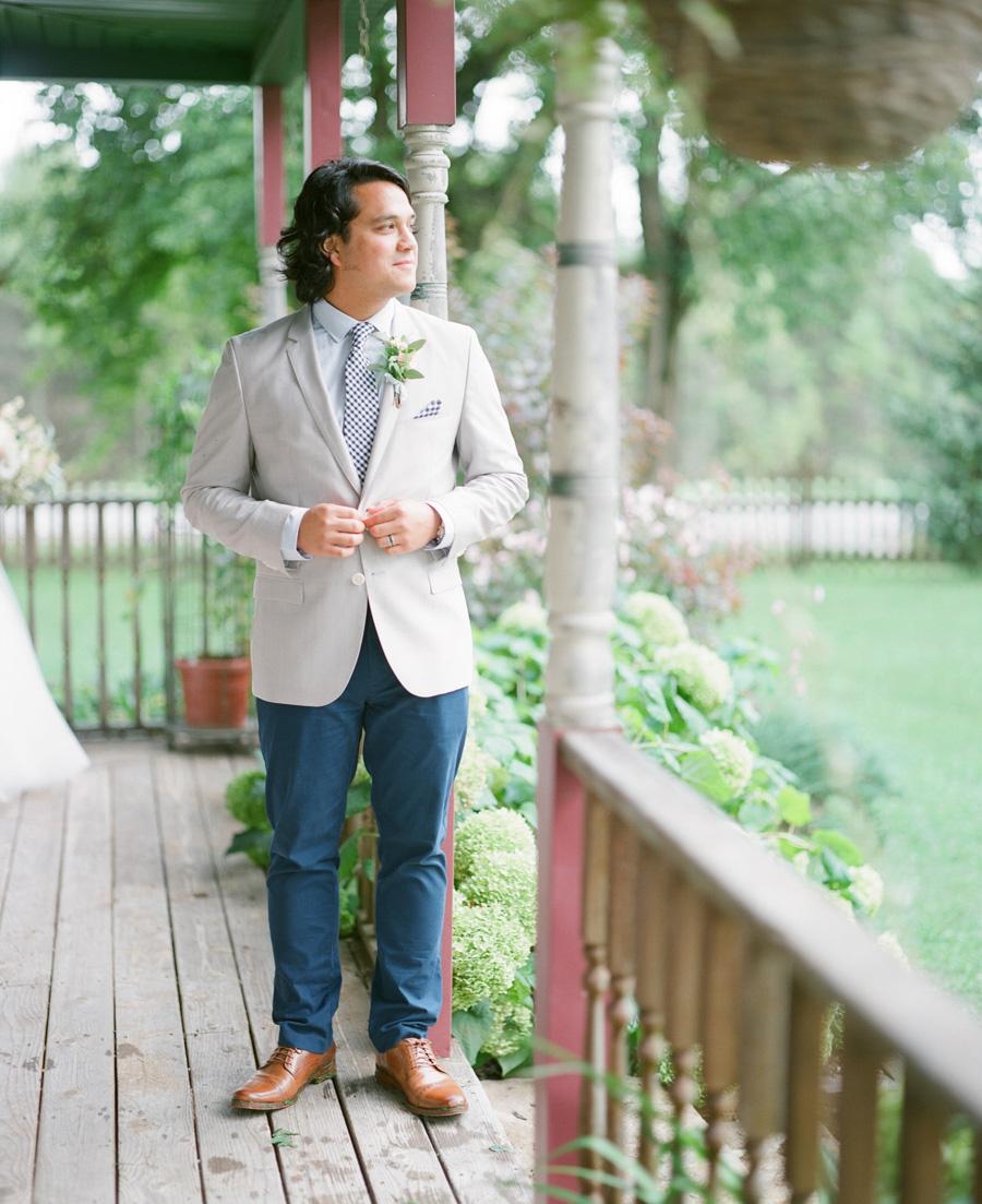 groom portraits on film door county wedding