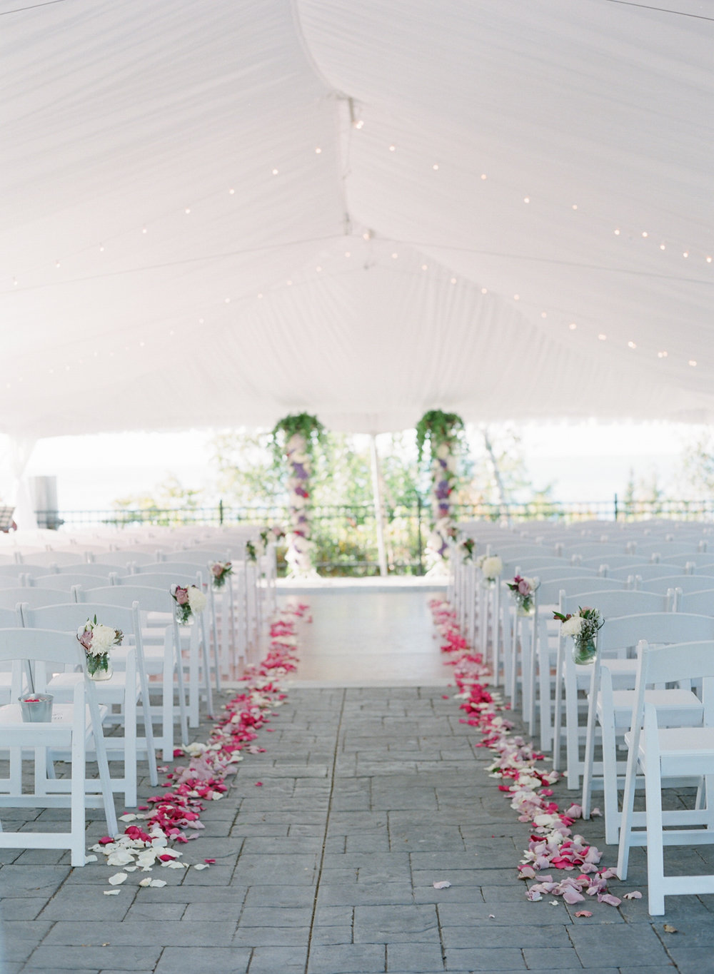 Horseshoe Bay Golf Club door county wi wedding ceremony in white tent