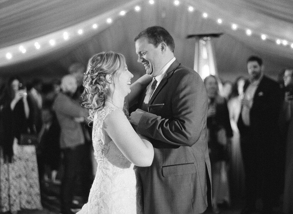 bride and groom's first dance captured on Ilford 3200 black and white film