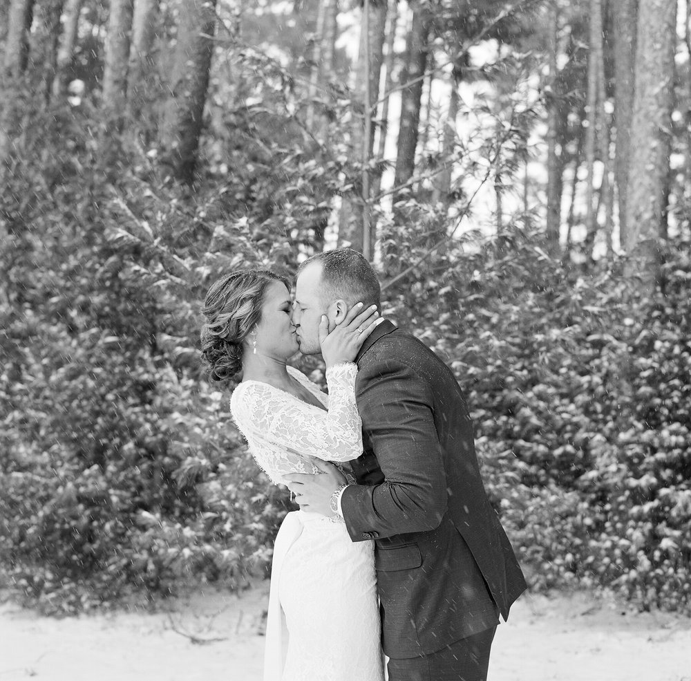 winter wedding in wisconsin bride and groom portrait