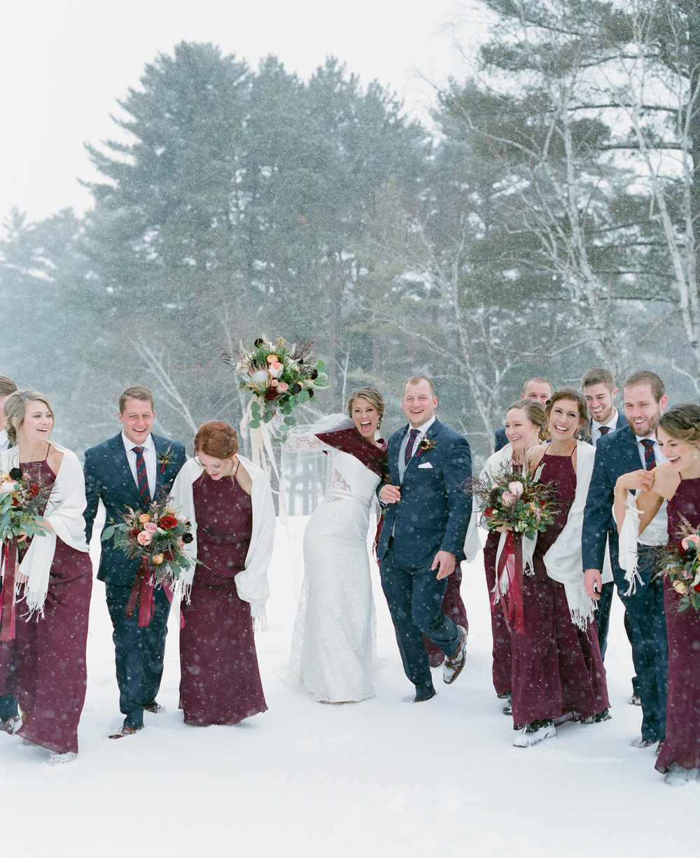 Navy and Burgundy winter wedding bridal party portrait