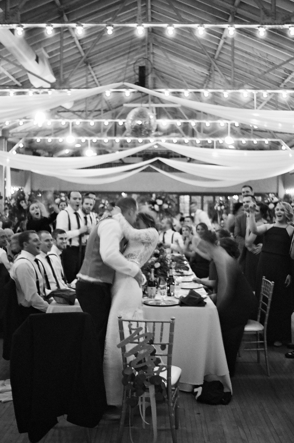 black and white film moment at Rothschild Pavilion winter wedding