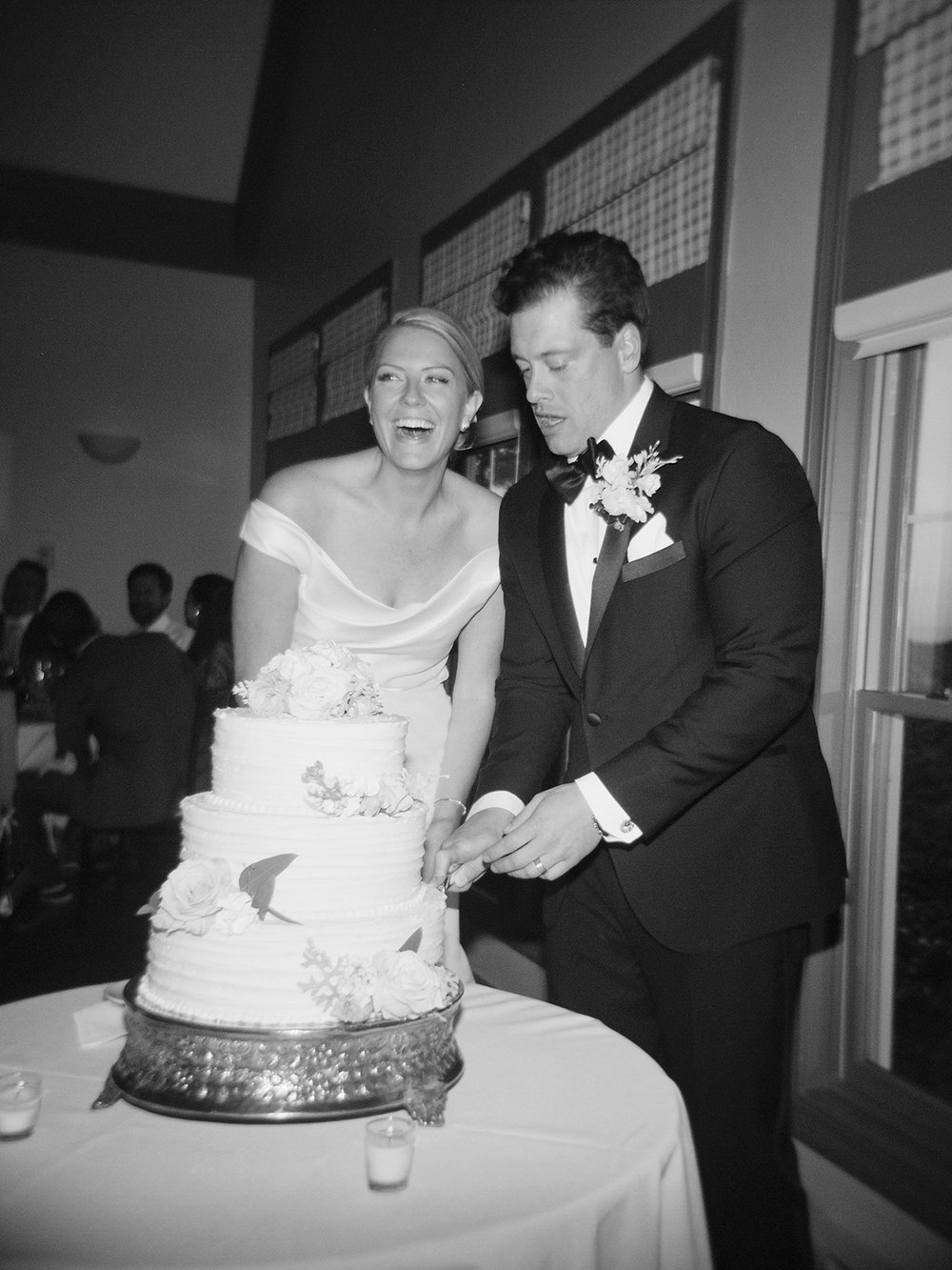 cake cutting captured on black and white film holga
