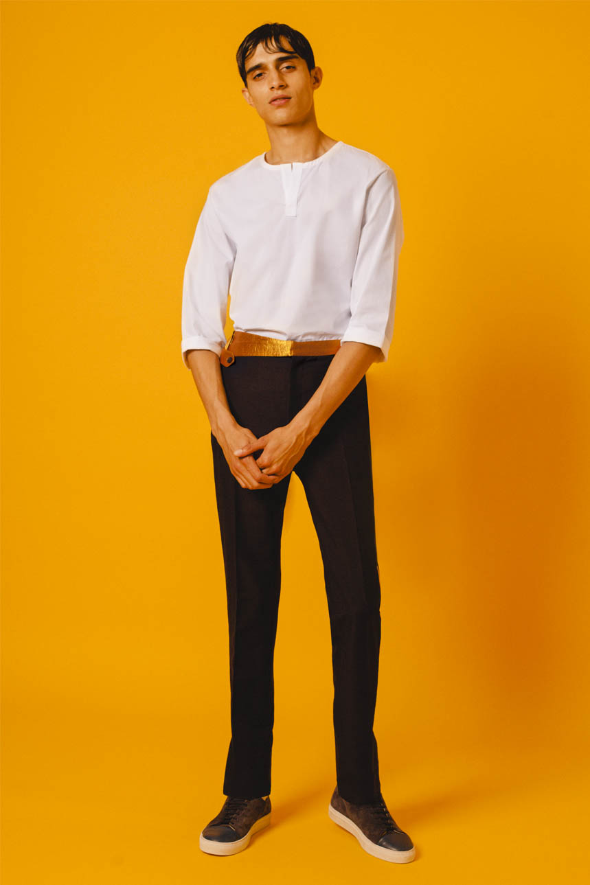 MARINA SHIRT WHITE SARI TRIM TROUSERS