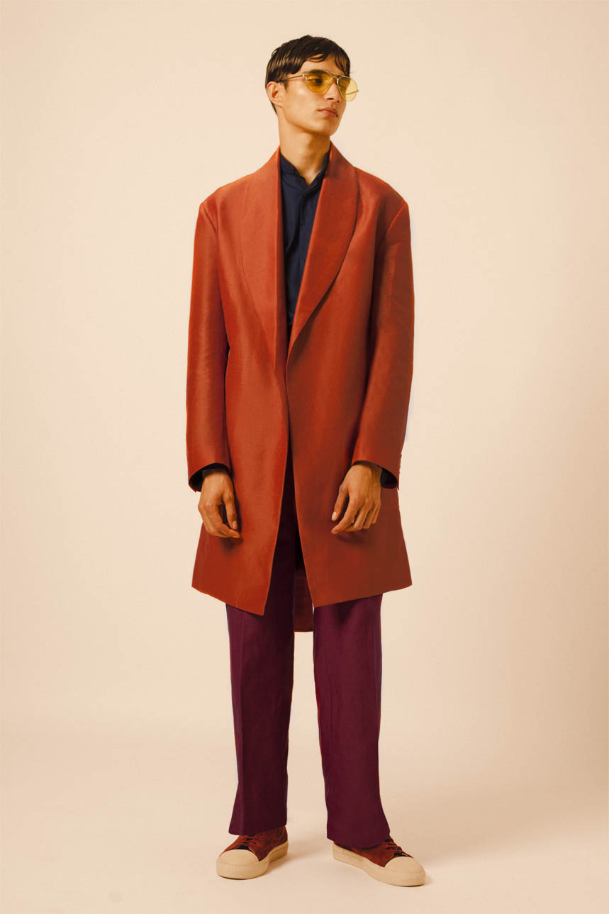 ROBE COAT ORANGE BOMBAY SHIRT NAVY RED LINEN TROUSERS