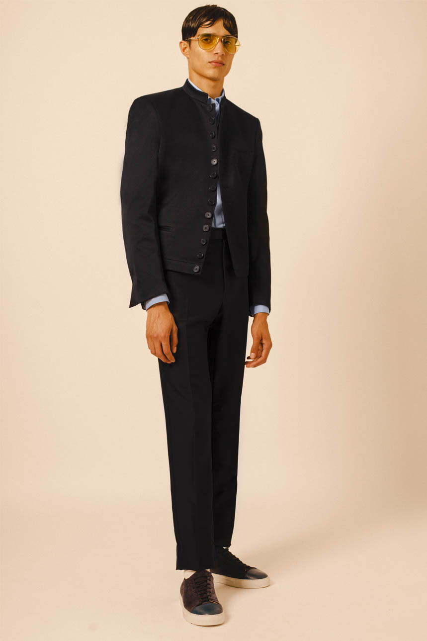 NEPAL JACKET BLACK SATIN CLASSIC SHIRT SKY BLUE TUXEDO TROUSERS BLACK