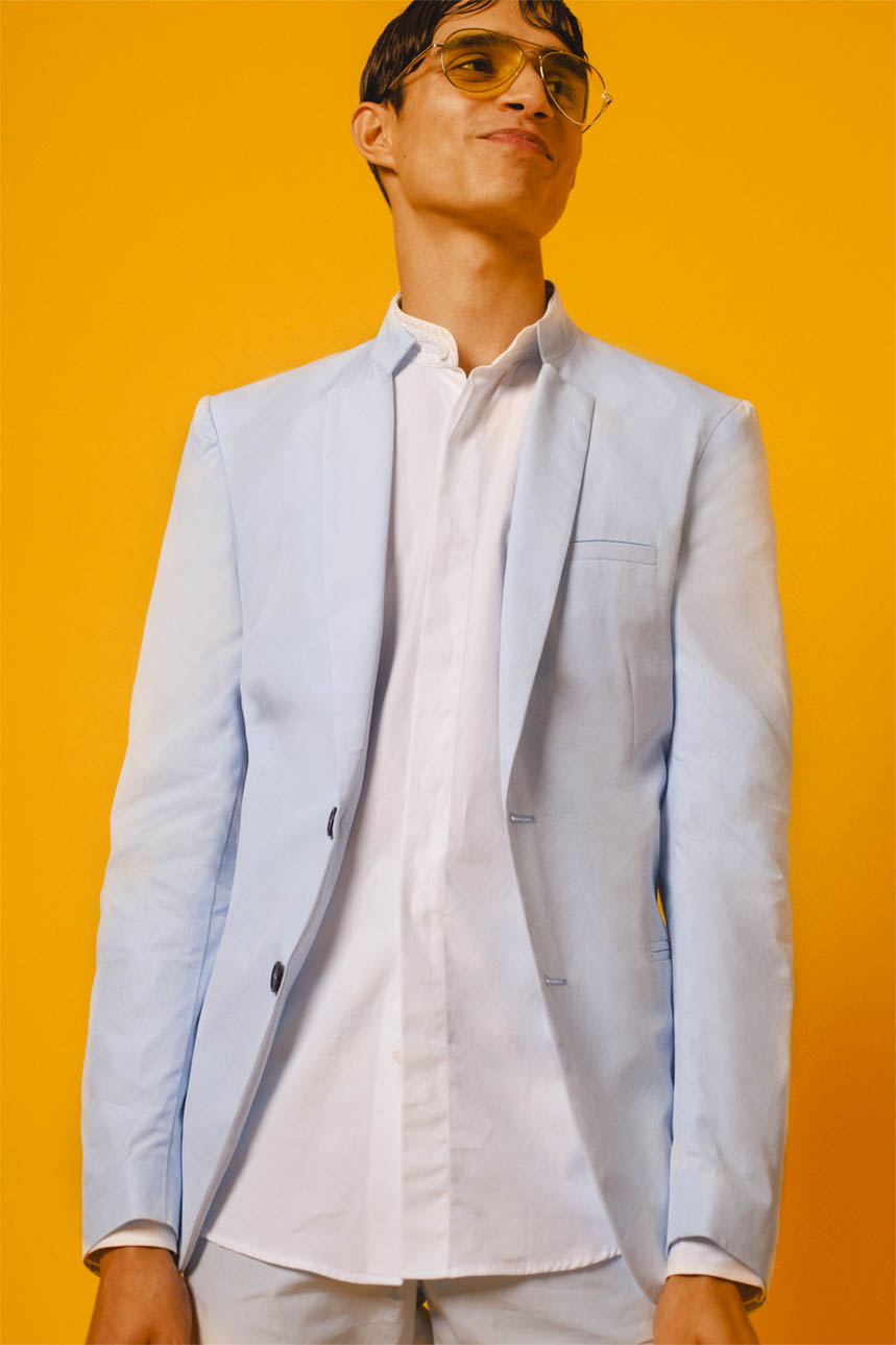 SHIRTING BLAZER SKY BLUE EMBROIDERED BOMBAY SHIRT WHITE SKY BLUE SHORTS