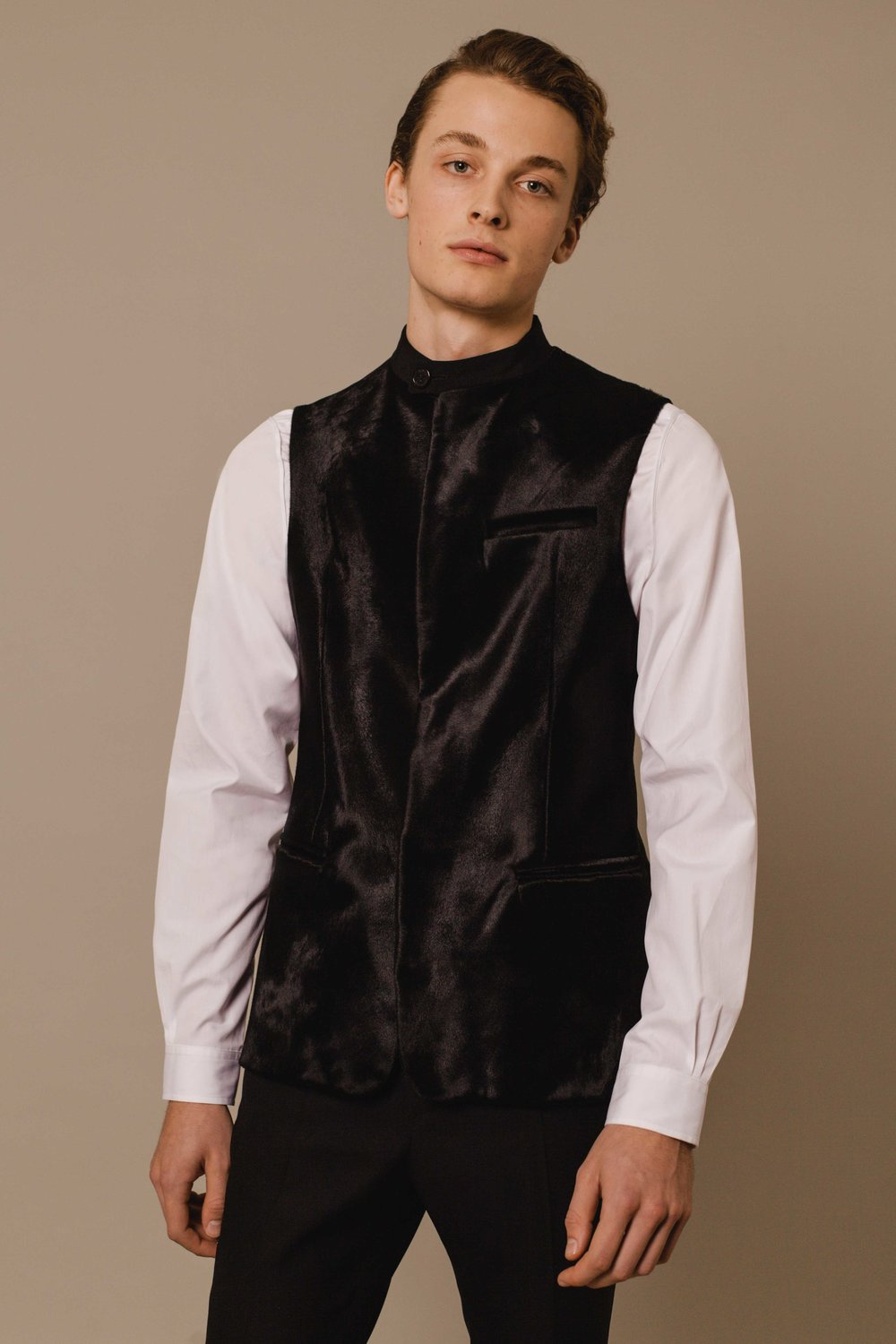 Bombay tuxedo vest black with shaved lamb Hand made in London  Bombay shirt white Made in italy