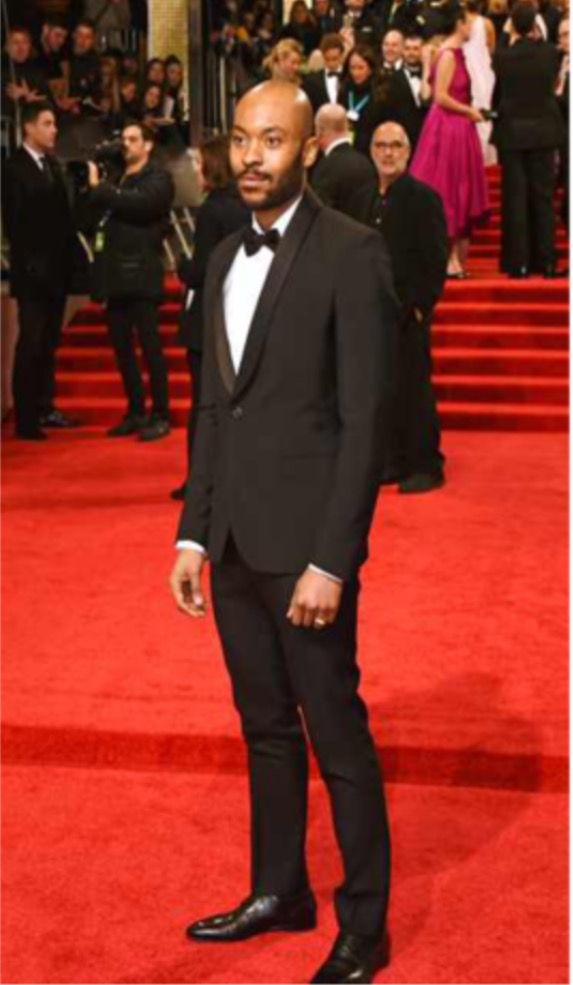 BAFTA NOMINEE ARINZE KEANE SHAWL TUXEDO BLACK EE BAFTAS FEB 2017