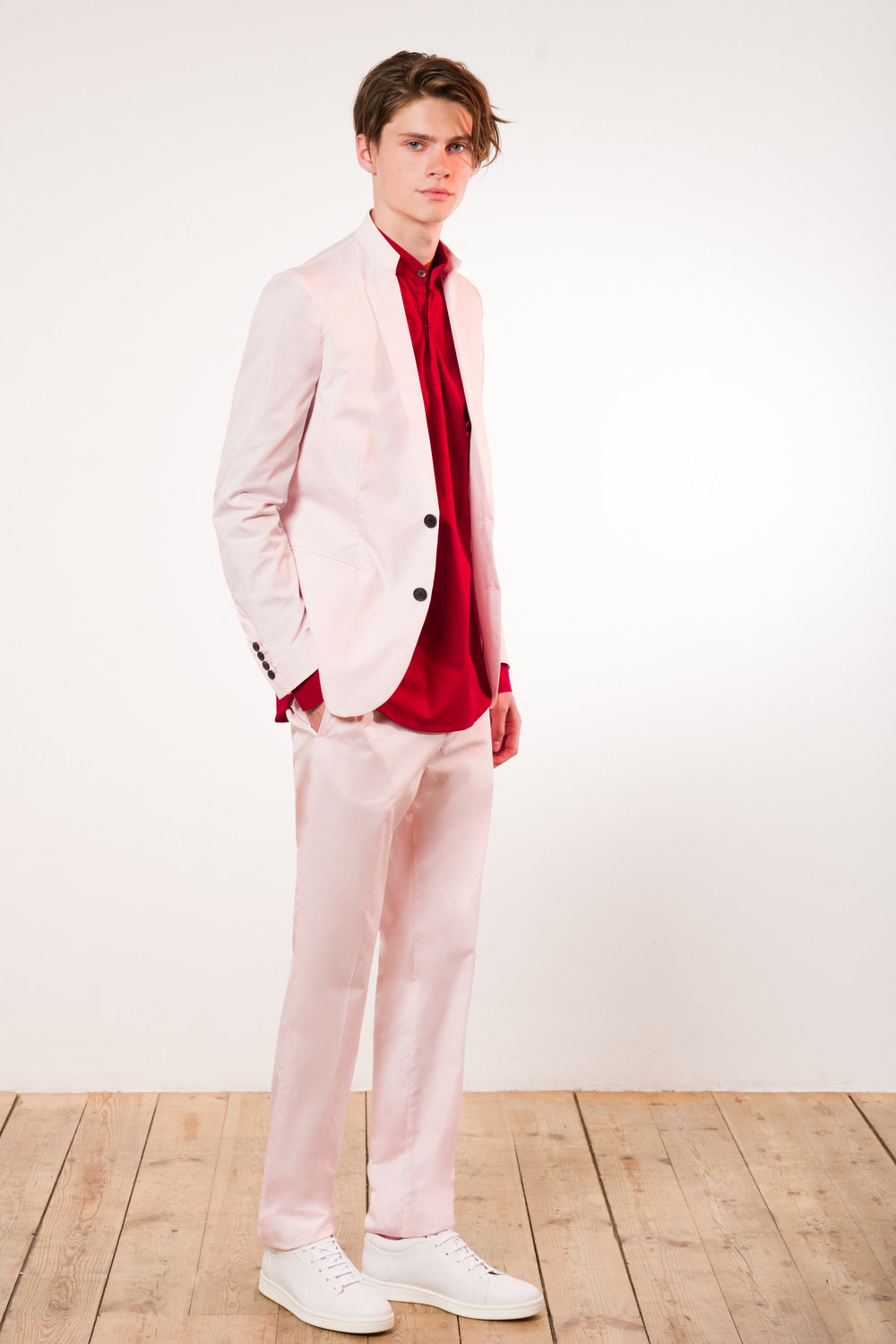 Shirting suit pink Contemporary shirt red