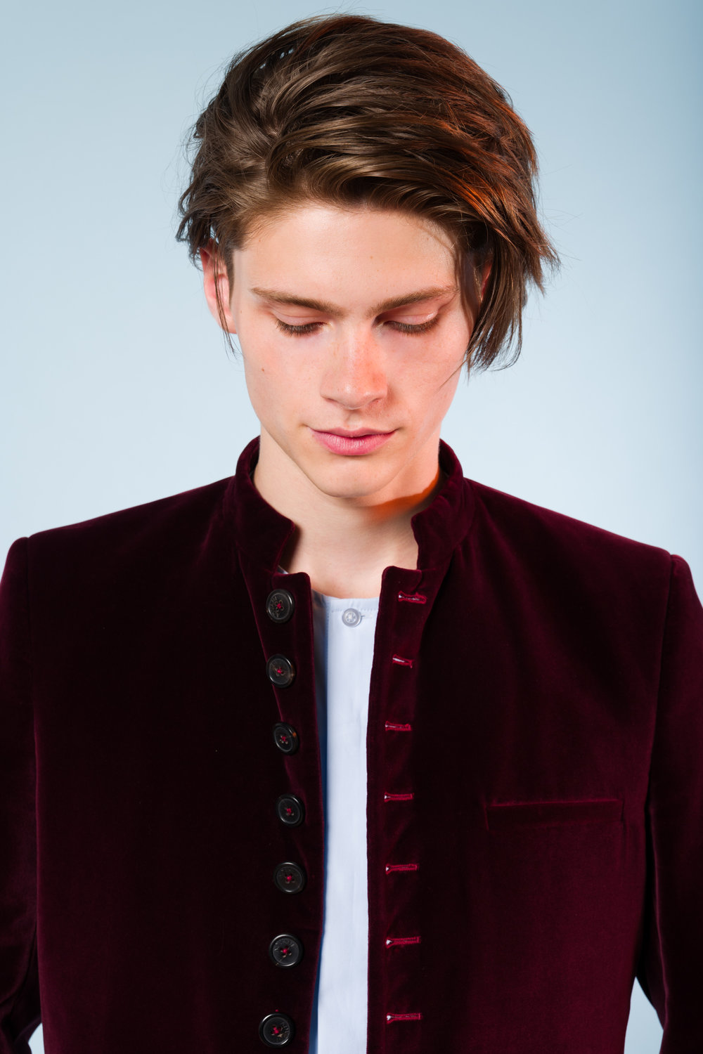 Nepal jacket burgundy velvet No Collar shirt