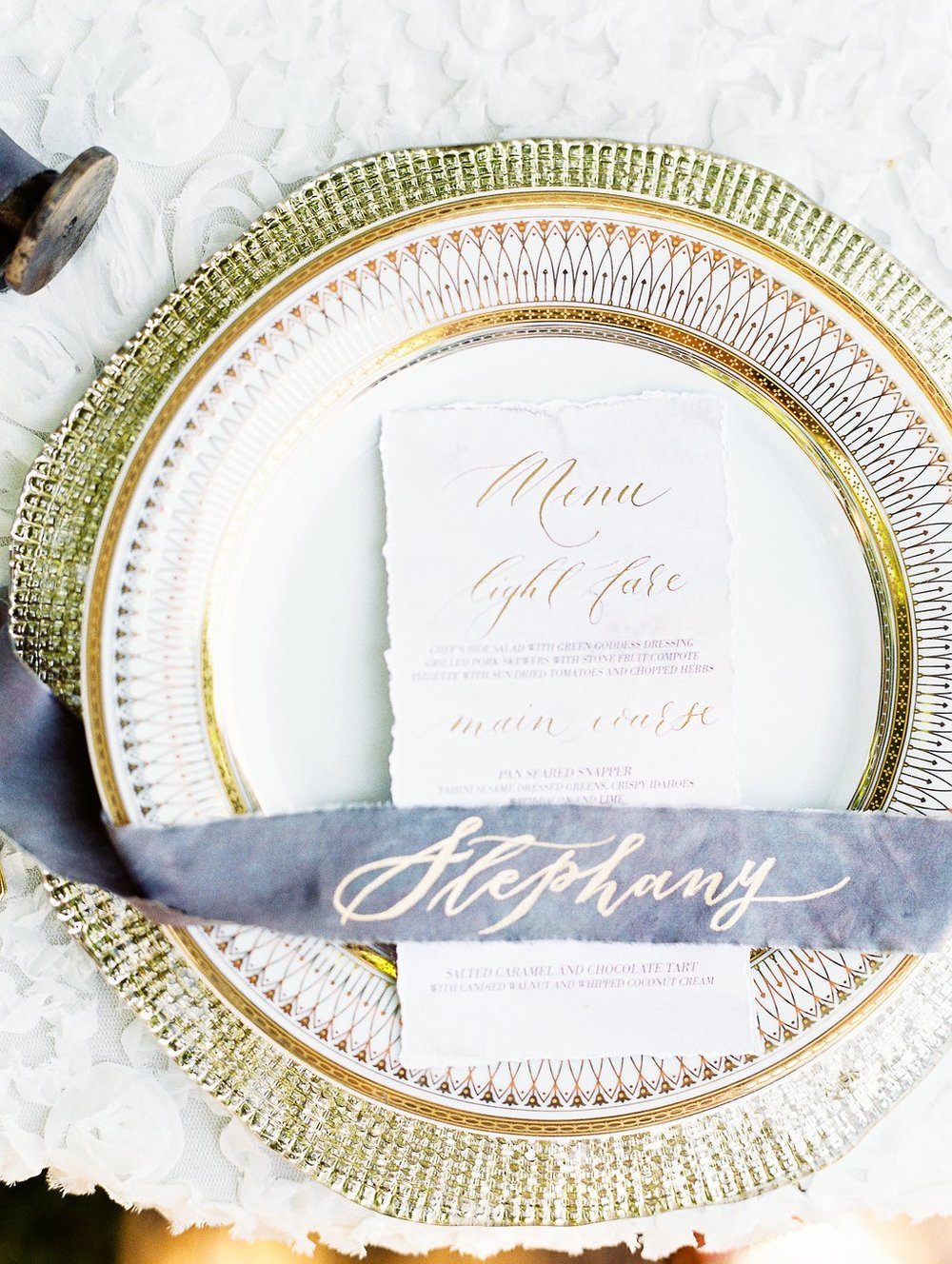 Calligraphy: Silverfox Calligraphy, Charger: The Rental Company, Linen: Mrs. Freund & Co.