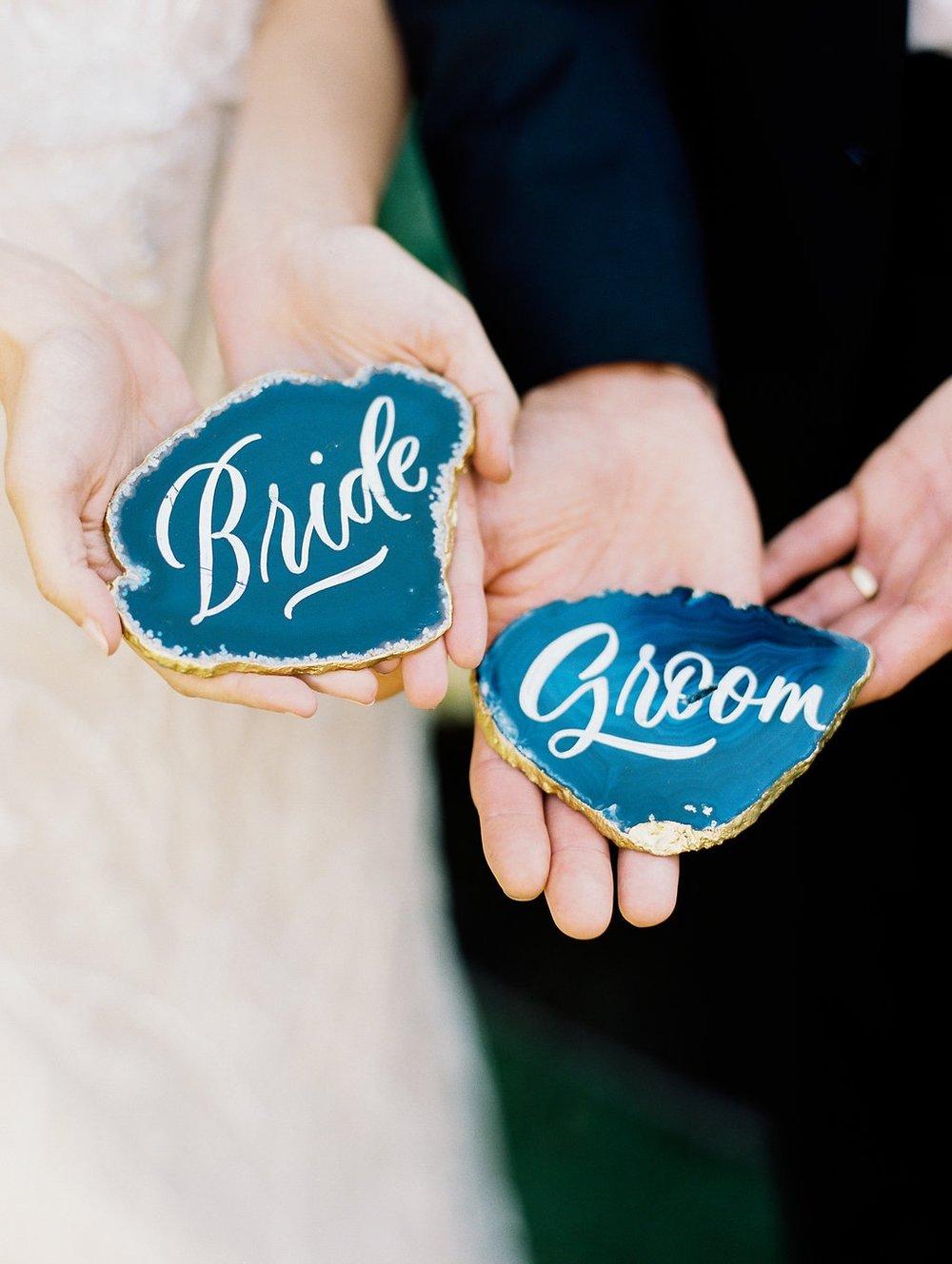 bride and groom geodes