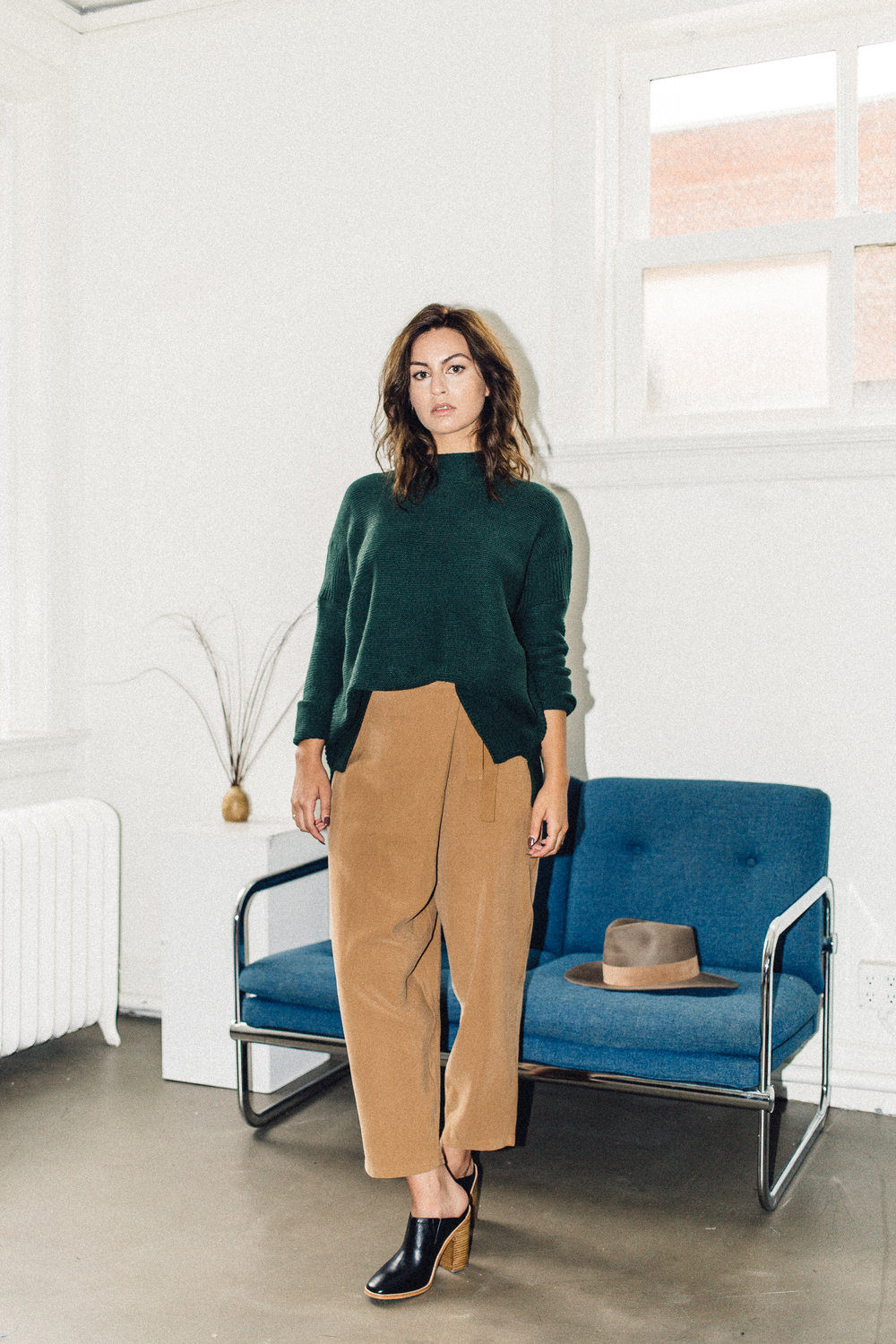 Scotland sweater green Knot sisters, achro wrap trouser camel and  sol sana frost mule black | PIPE AND ROW.jpg