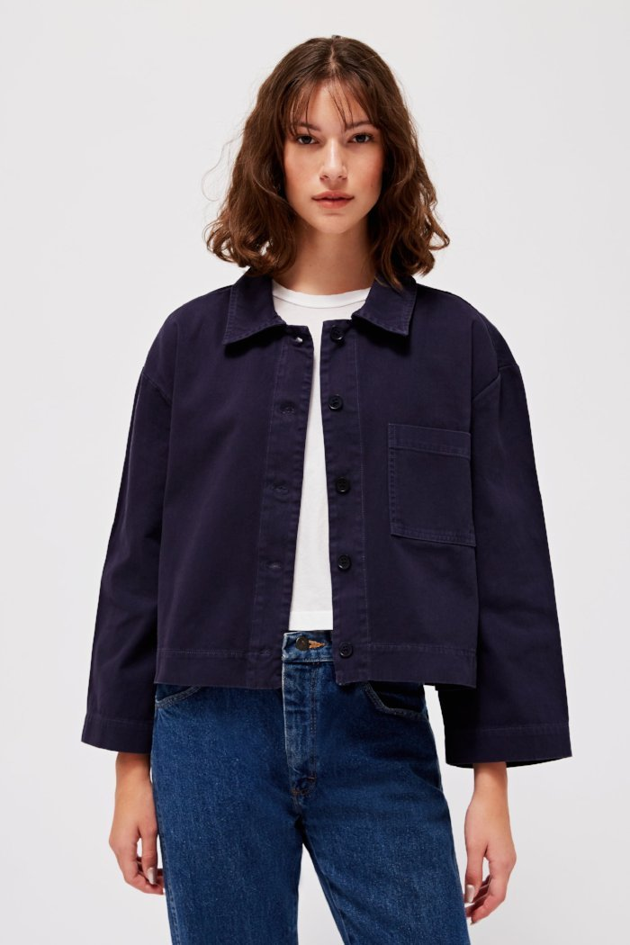pipe and row lacausa brushed cotton jane jacket made in the usa slow fashion