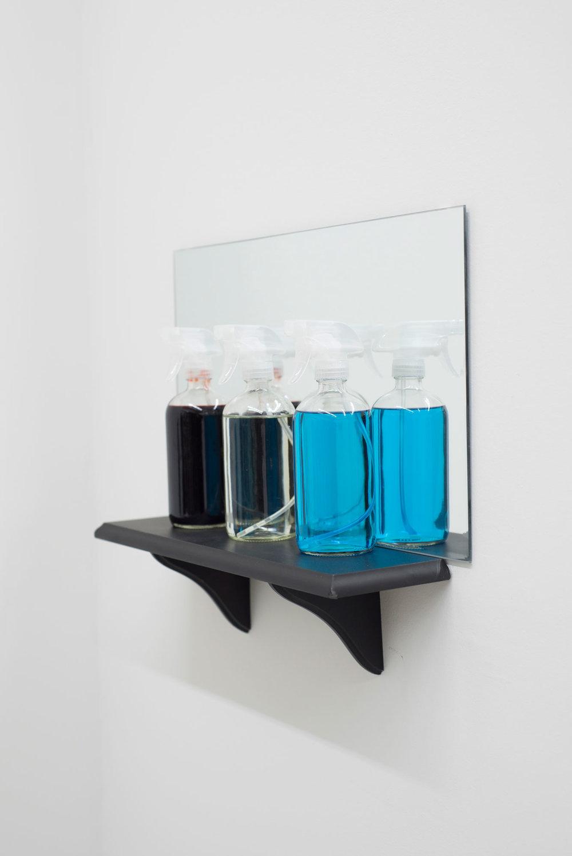 Housekeepers' Requiem, glass spray bottles, mirror, shelf, Windex, tequila, fake blood, 2018