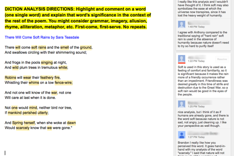 Google docs for collaborative text annotations john damaso students analyze diction choices in the teasdale poem and then deepen the analysis by replying to ccuart Image collections