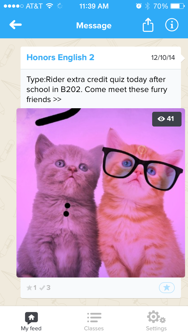 LOLCats for the win!  Sometimes students are unpredictable. Who knew that a picture of cats from the iPad game Type:Rider would yield a 55% click-through rate?