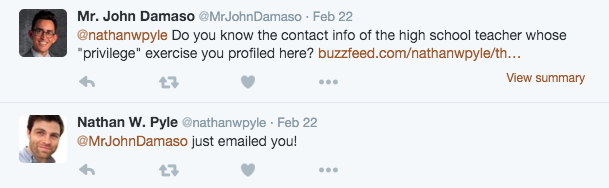 On a whim, I Tweeted at Mr. Pyle, a BuzzFeed writer, and he responded within minutes.