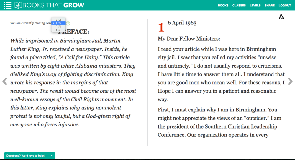 Screenshot from BooksThatGrow's Level 4 rendition of MLK's famous letter.