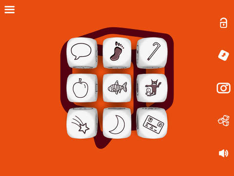 Screenshot from the Rory's Story Cubes app. Keep a few static and roll the rest for a plot twist or character revelation.