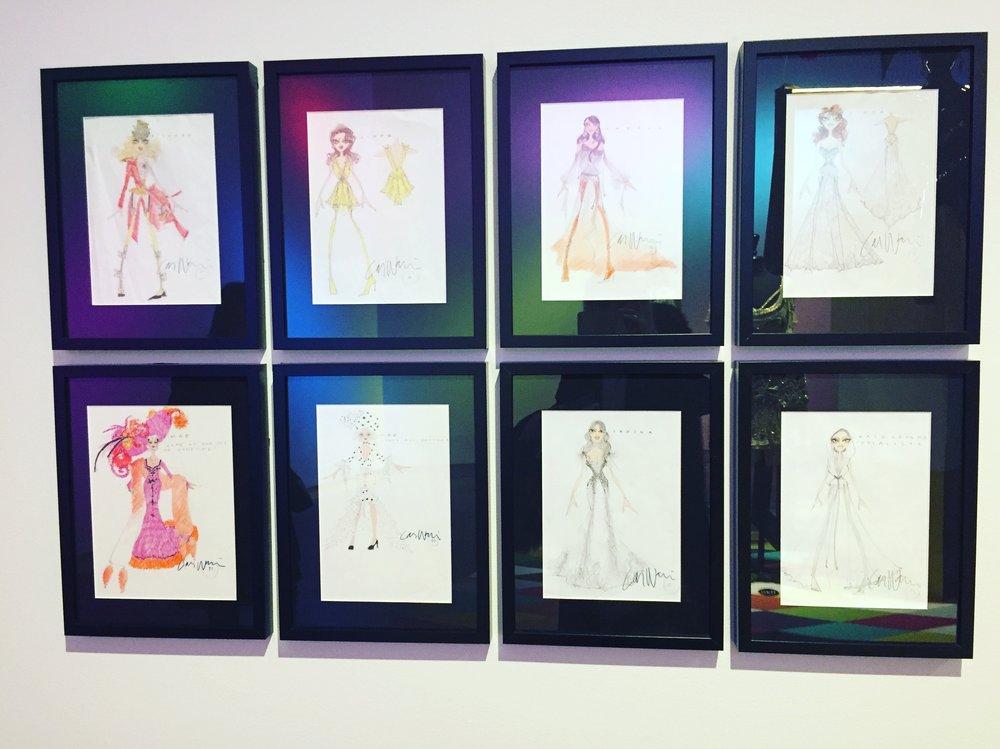 Lars Wallins drawings of dresses.