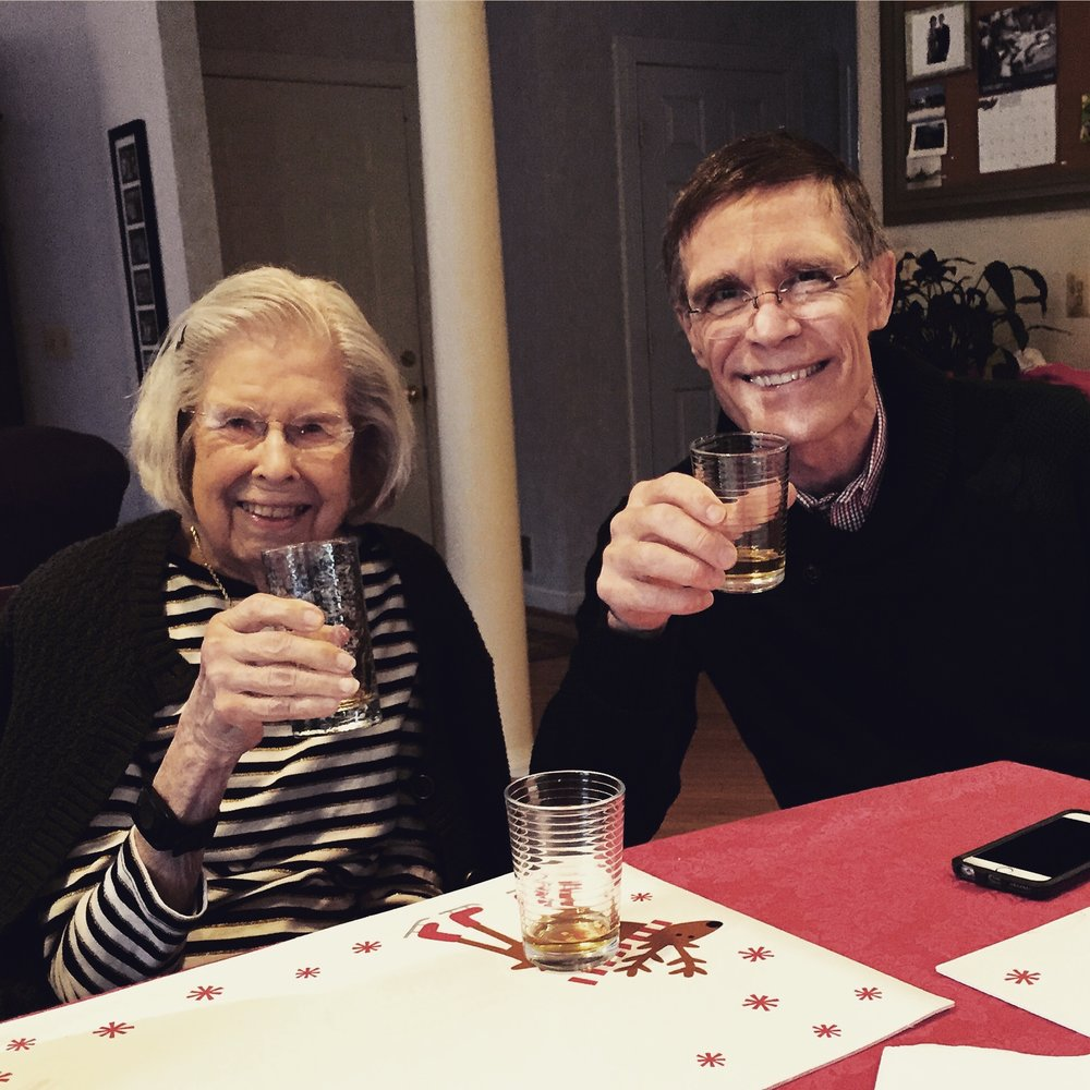 Grandma and Tom during the annual Christmas scotch tasting.