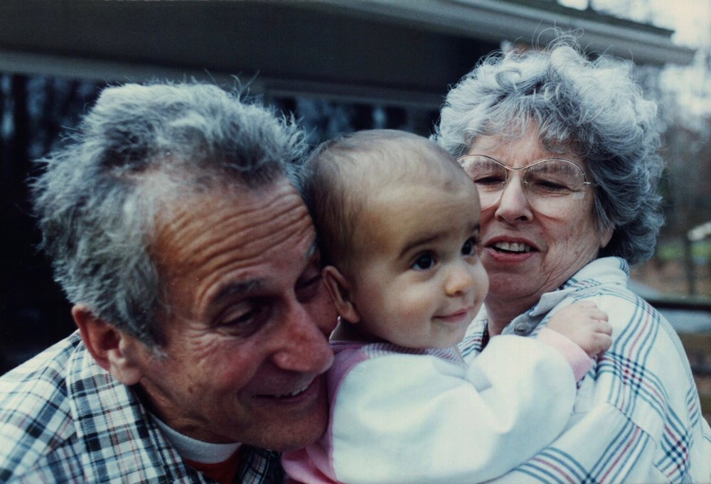 My sister's favorite picture of our grandparents: my grandpa, my sister, and my grandma.