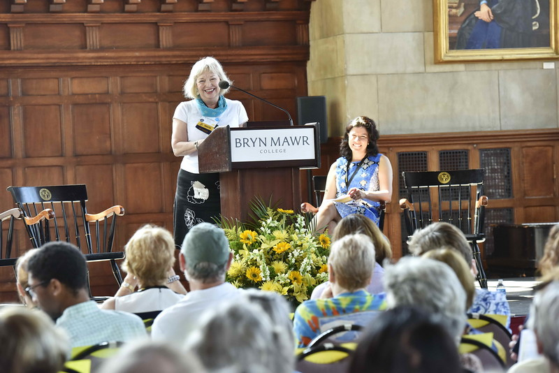 Caroline accepting a well-deserved award while being hilarious, and Saskia laughing. Not pictured: Saskia's airbrush tattoo of a dragon, which she proudly wore while giving her address to alumnae at reunion as president of the Alumnae Association Executive Board.