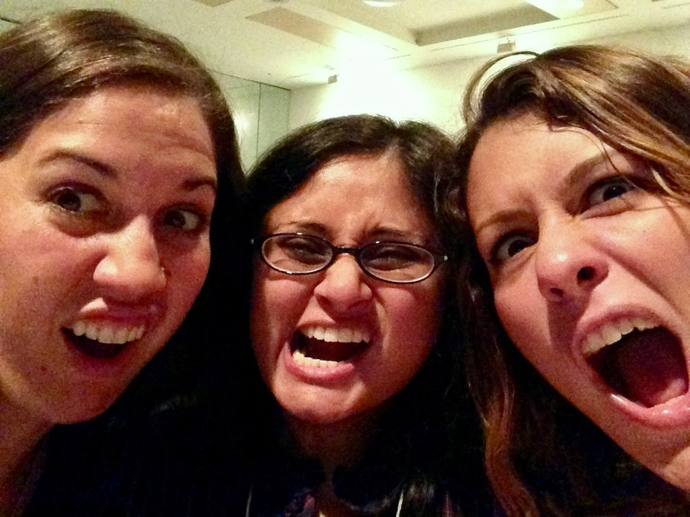 Sarah, Radha, and me at a conference where we were clearly acting very professionally.