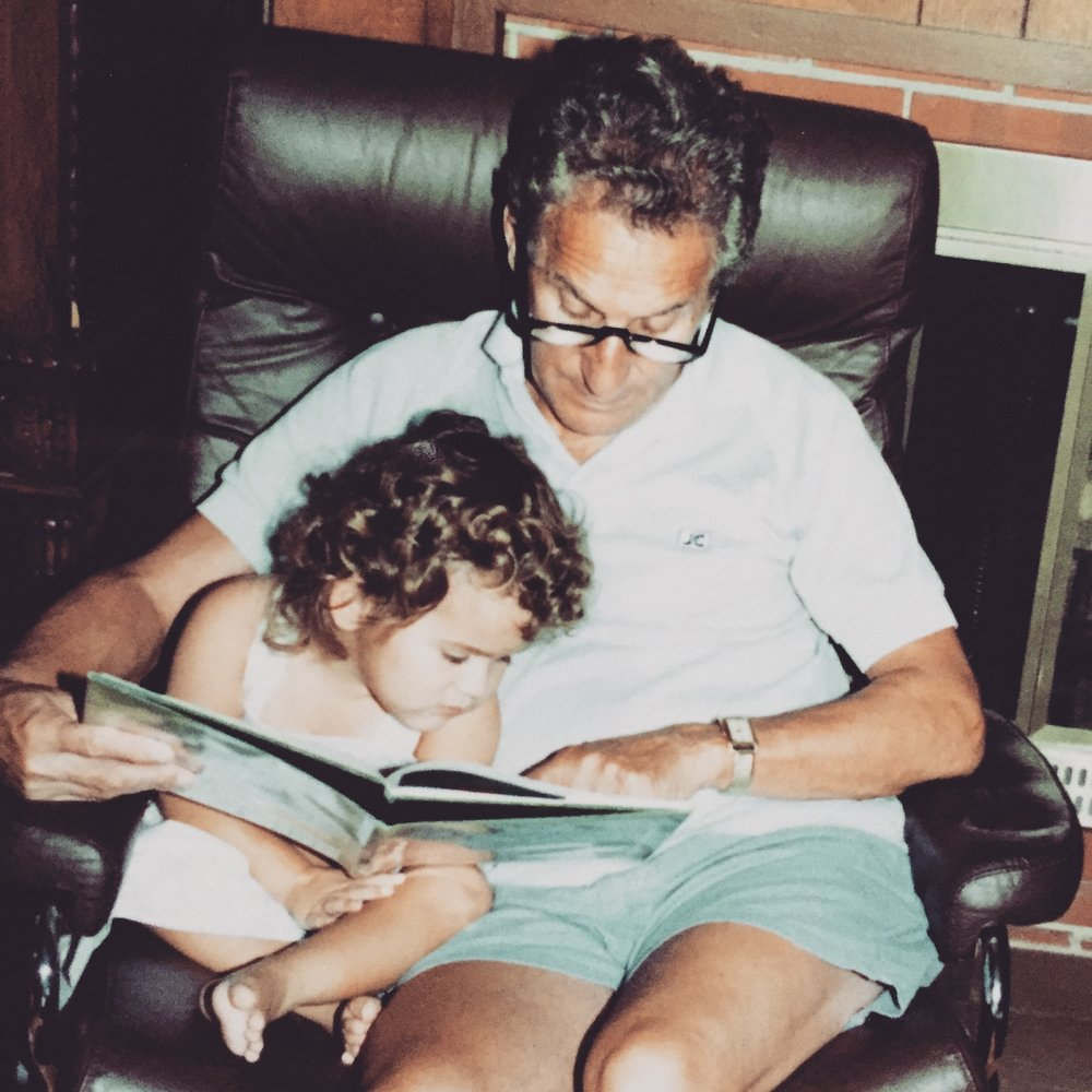 Learning from grandpa started much earlier than this, but we're pictured here in his throne, reading, probably about x-ray crystallography.